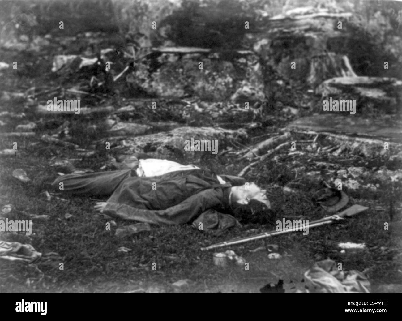 Dead soldier on battlefield at Gettysburg, Pennsylvania. - Stock Image