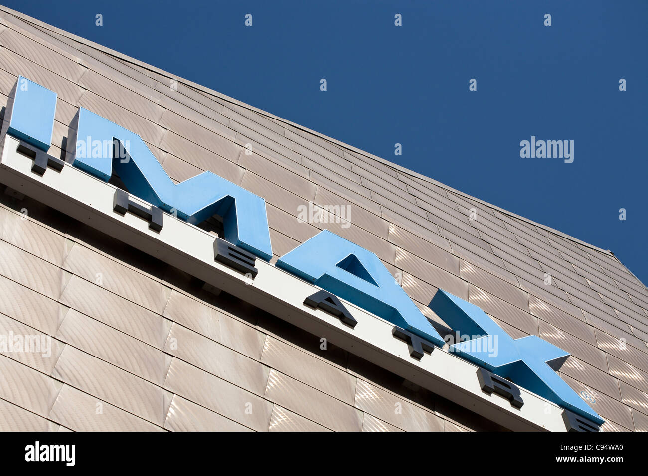 IMAX Theatre Facade. The stainless steel cladding and the sign for the large format theatre located on the Boston - Stock Image