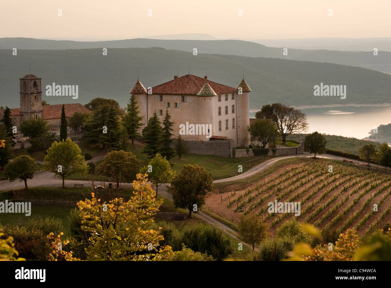 french chateau in the village of Aiguines overlooking Lac de Sainte Croix, France, Provence, Stock Photo