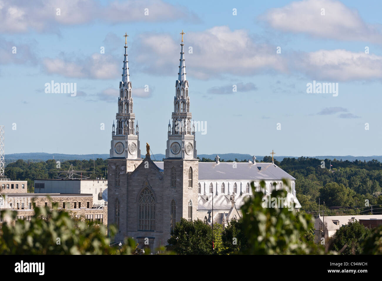 Notre-Dame Cathedral Basilica. An Ottawa landmark in the heart of lowertown, as viewed from Parliament Hill. Stock Photo