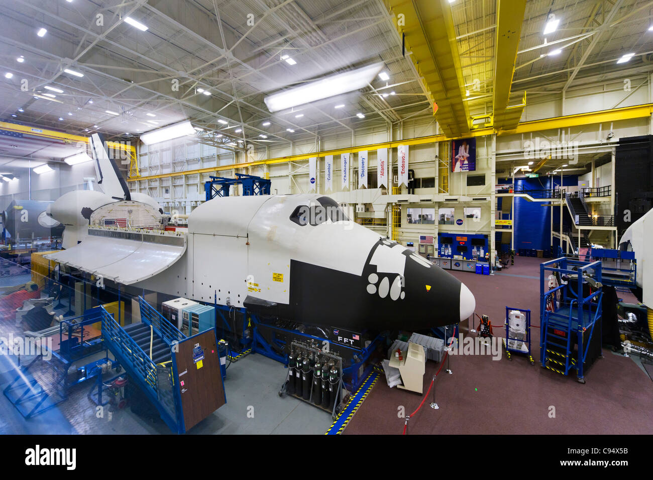 Astronaut training area for the Space Shuttle in the Space Vehicle Mockup Facility, Johnson Space Center, Houston, - Stock Image