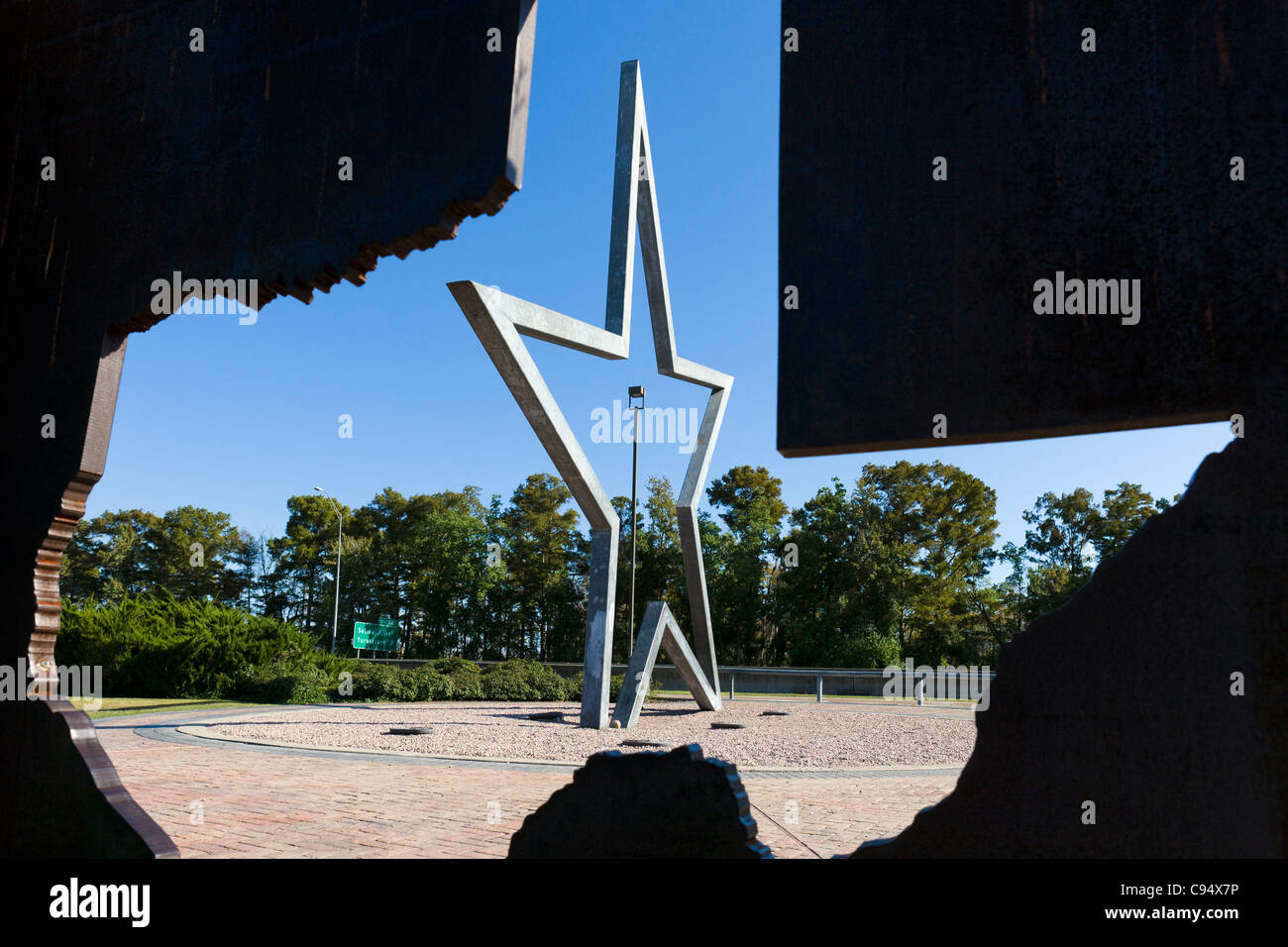 Lone Star sculpture at a rest area on the Louisiana/Texas state line, USA - Stock Image