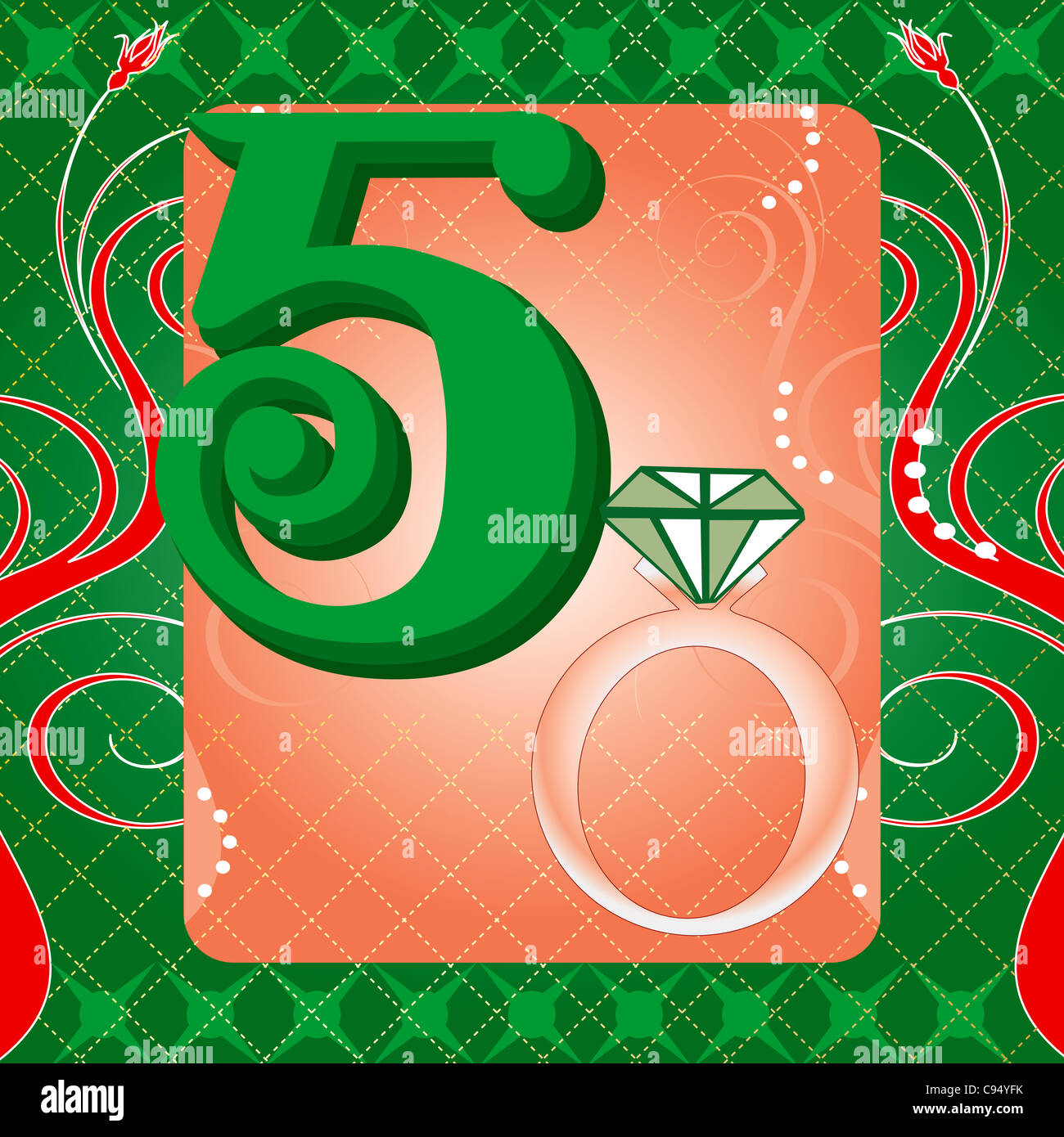 Vector Illustration Card For The 12 Days Of Christmas Five Golden