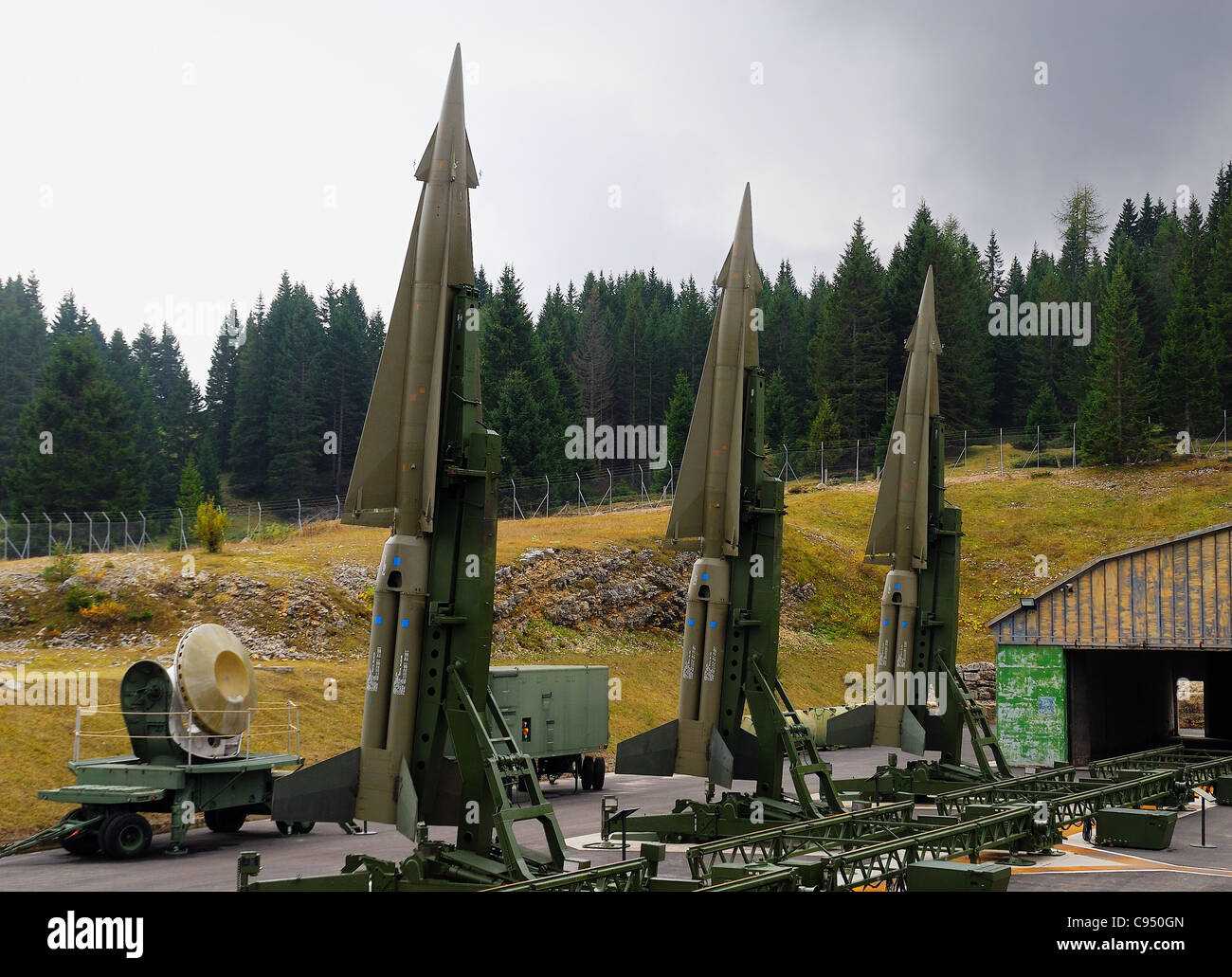 Cold war. Ex NATO base Tuono ( Thunder). Missiles Nike-Hercules on launch pads. - Stock Image