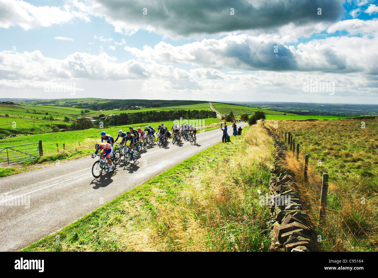 The 2011 Tour of Britain roles across the Staffordshire moorlands during Stage 3 of the race - Stock Image