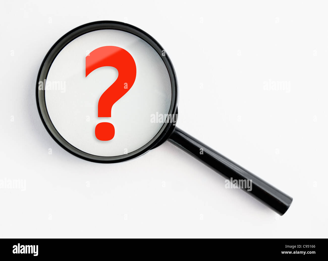 question mark under a magnifying glass, with isolated background Stock Photo