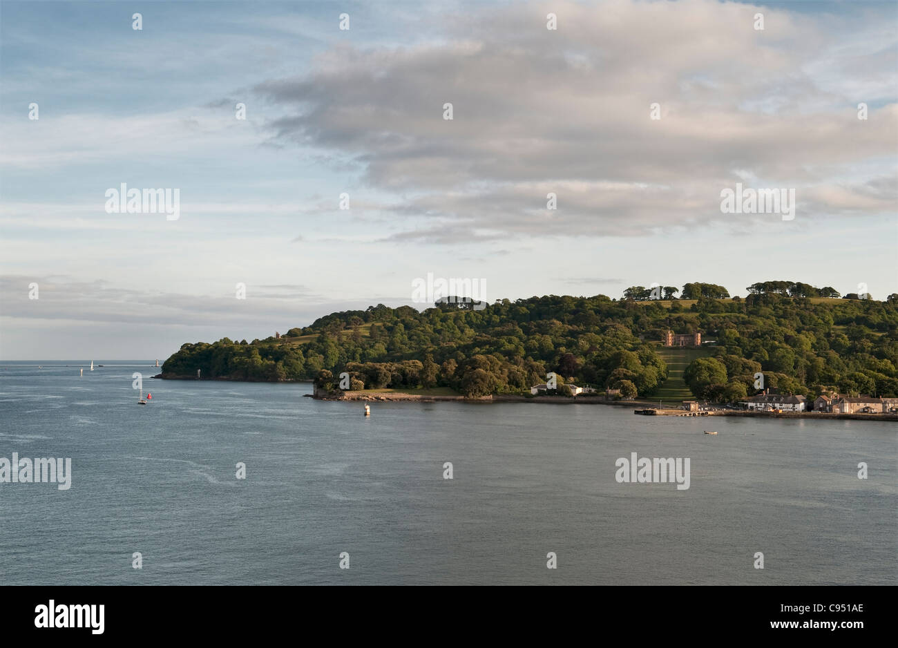 Mount Edgcumbe and the Rame Peninsula, as seen from Devonport, Plymouth, across the River Tamar Stock Photo