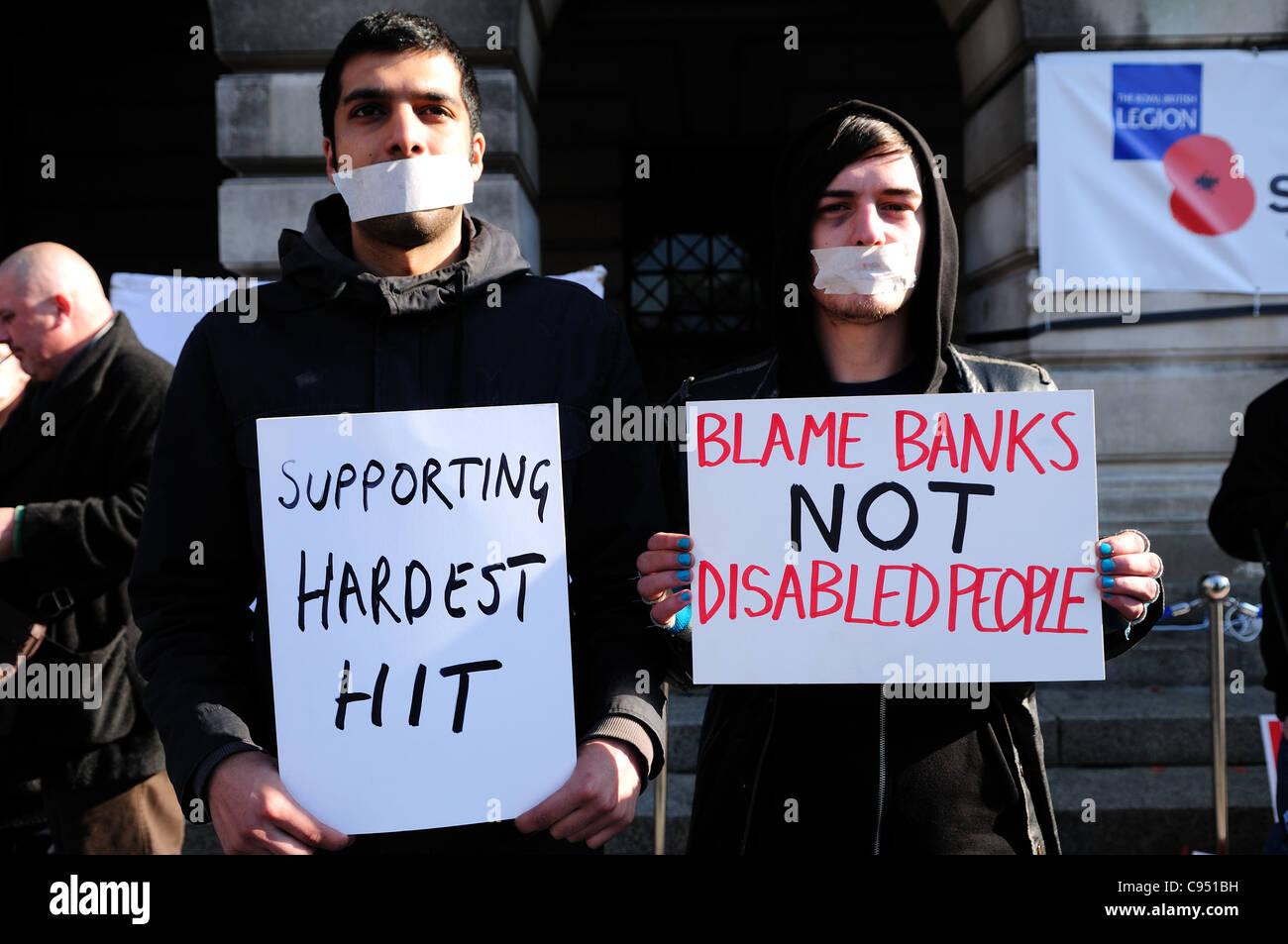 Hardest Hit Demonstration Nottingham's Old Market Square.Silent Protest. Stock Photo