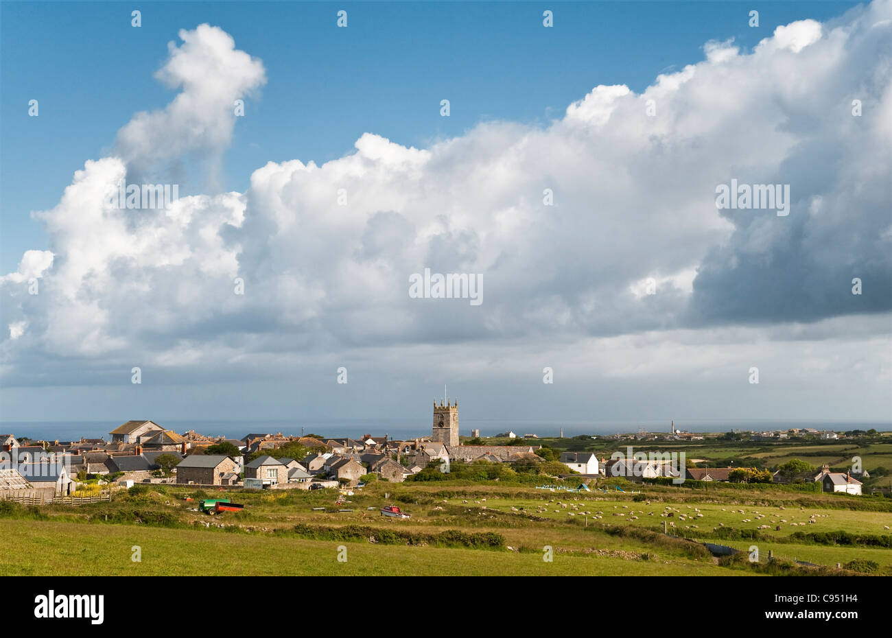The old mining village of St Just (St Just in Penwith), near Penzance, Cornwall, UK, on a fine summer day. It is the most westerly town in Britain Stock Photo