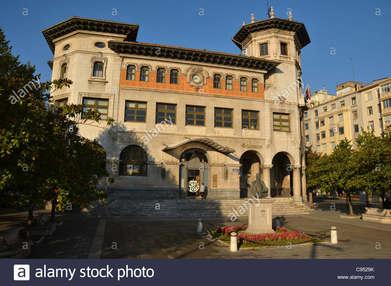 The historic main post office in Santander, Northern Spain. Stock Photo