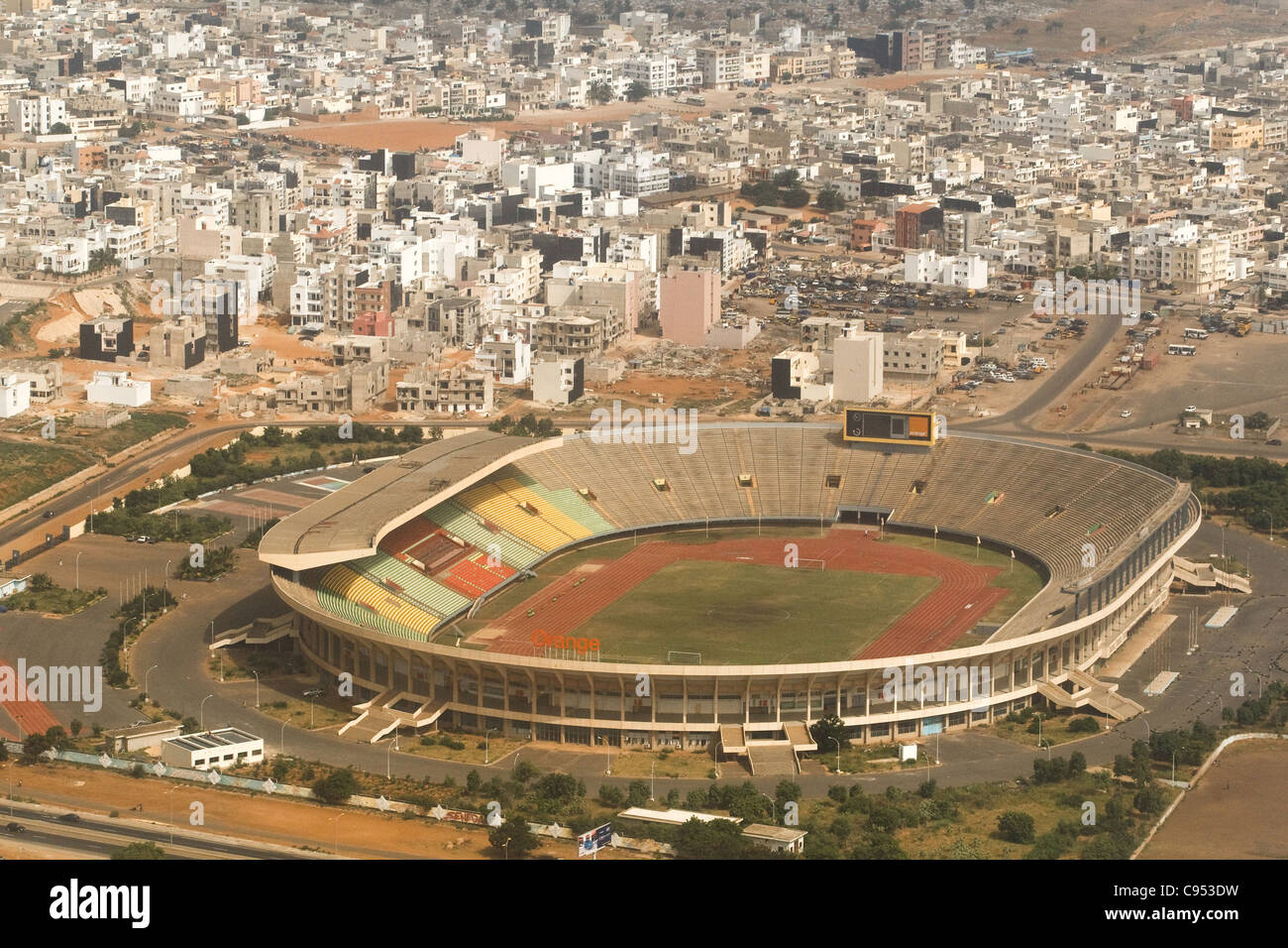 Aerial view of the stade Leopold Sedar Senghor stadium in Dakar, Senegal. Stock Photo