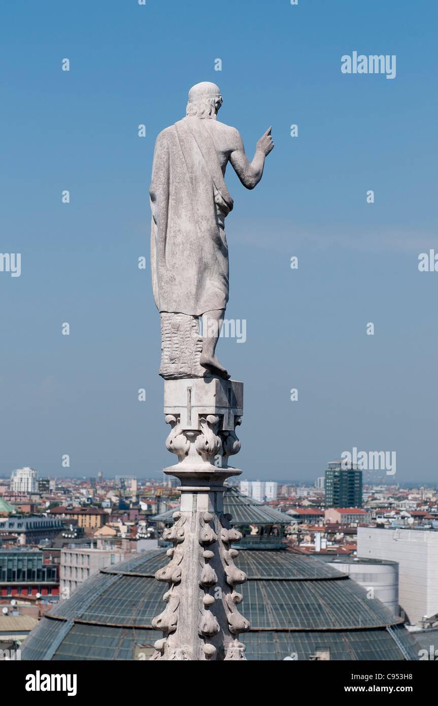 Milan cathedral, Duomo di Milano, marble facade with spires - Stock Image