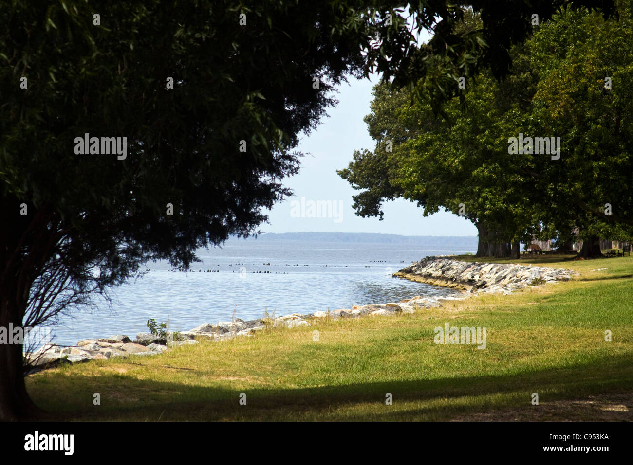 A view of James River along the riverbank of The Jamestown Island Virginia Stock Photo