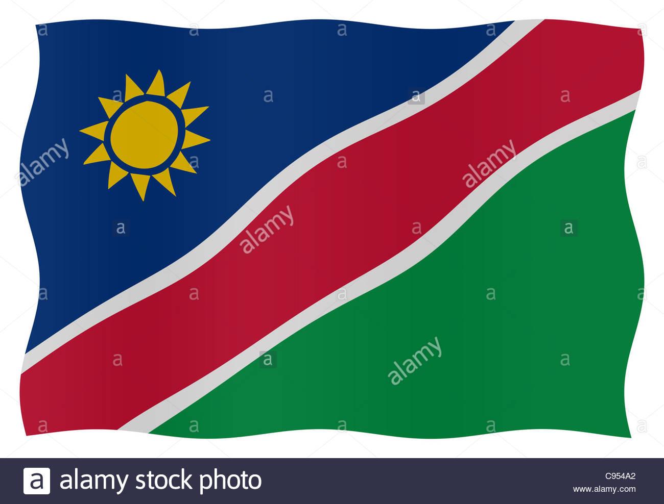 Digital illustration - Namibian Flag Stock Photo