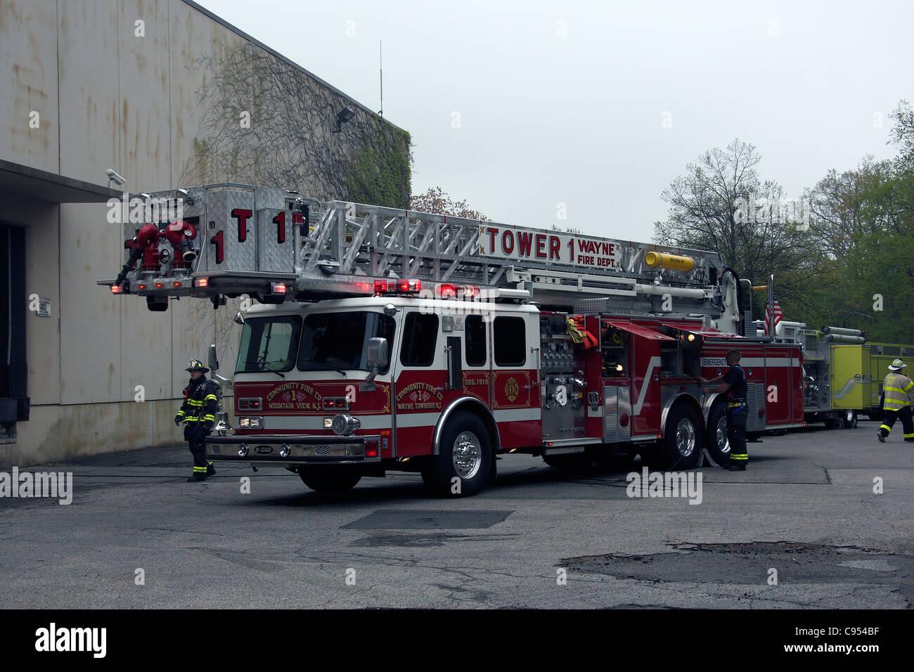 E-One 105' Rear Mount Ladder Truck. Stock Photo