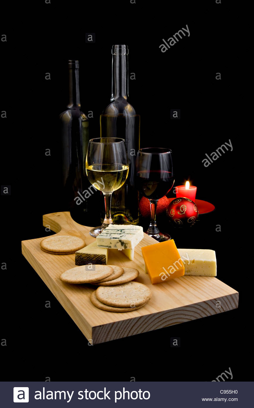 Red And White Wine With Cheese Selection Biscuits And Red Candle On Stock Photo Alamy