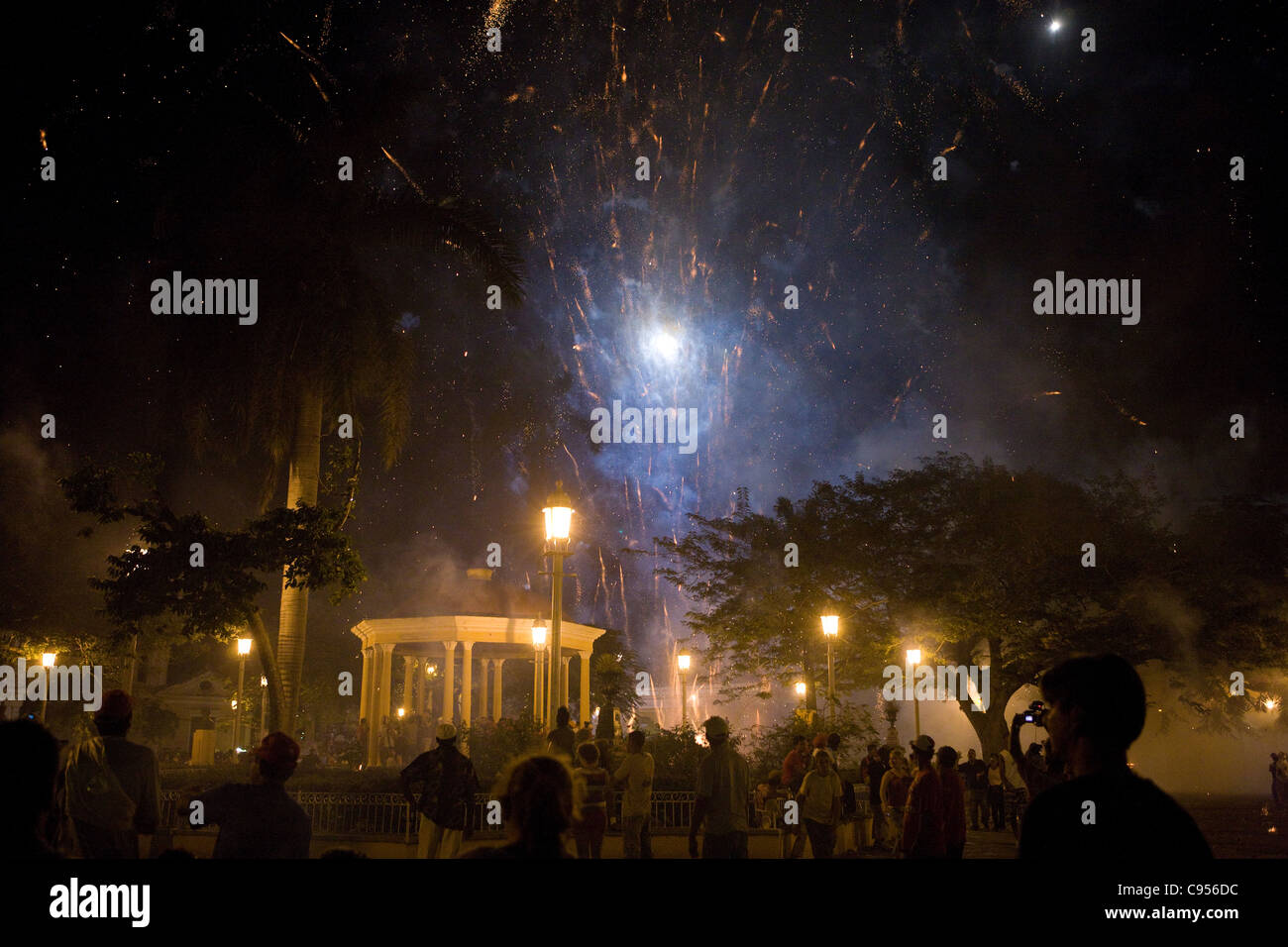 The main square of Remedios is the center of the celebrations which lasts throughout Christmas Eve until daybreak - Stock Image