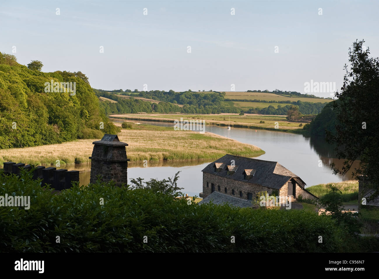 Cotehele Quay, Cornwall, UK. An evening view over the River Tamar Stock Photo