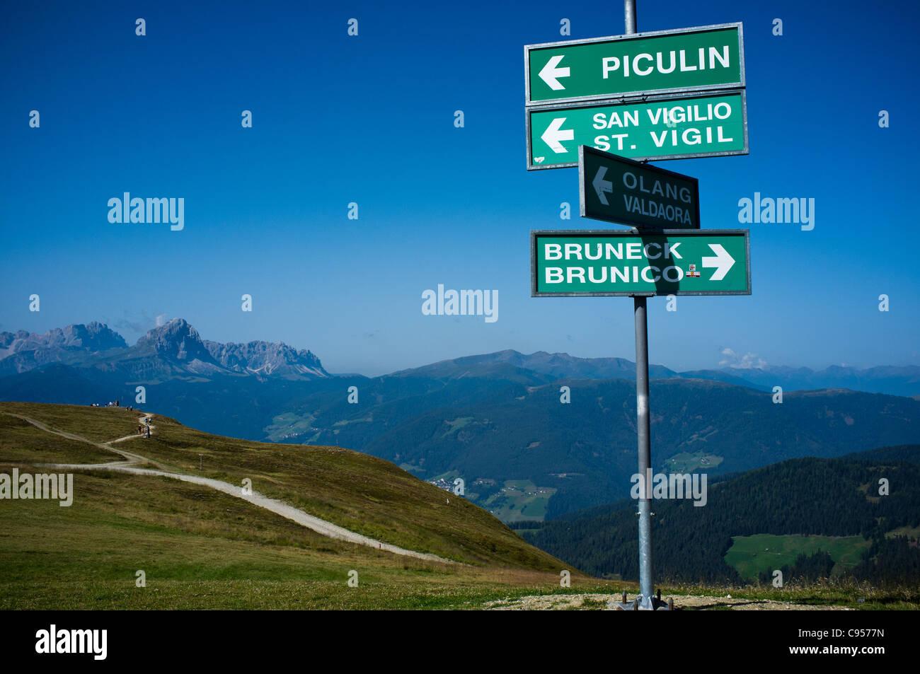 Direction indications sign on Kronplatz in the Italian Dolomites. - Stock Image