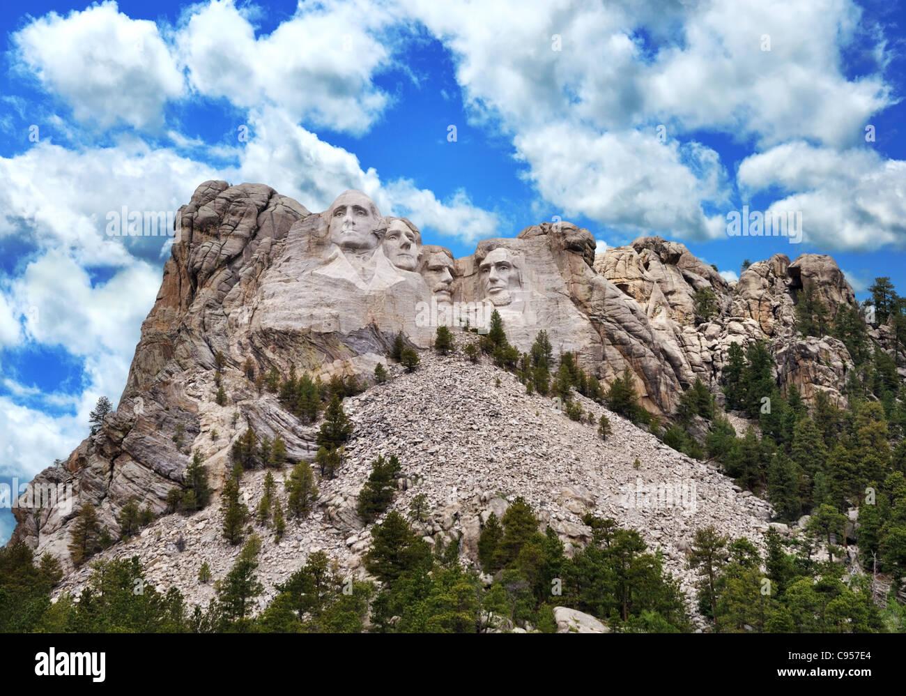 Presidential Sculpture At Mount Rushmore National Monument, South Dakota. - Stock Image