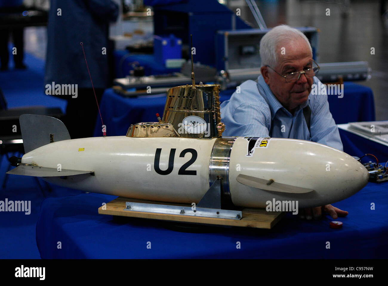 A reproduction of the historical U-boat U2 from the German Navy exhibited in a trade fair in Leipzig, Germany. - Stock Image