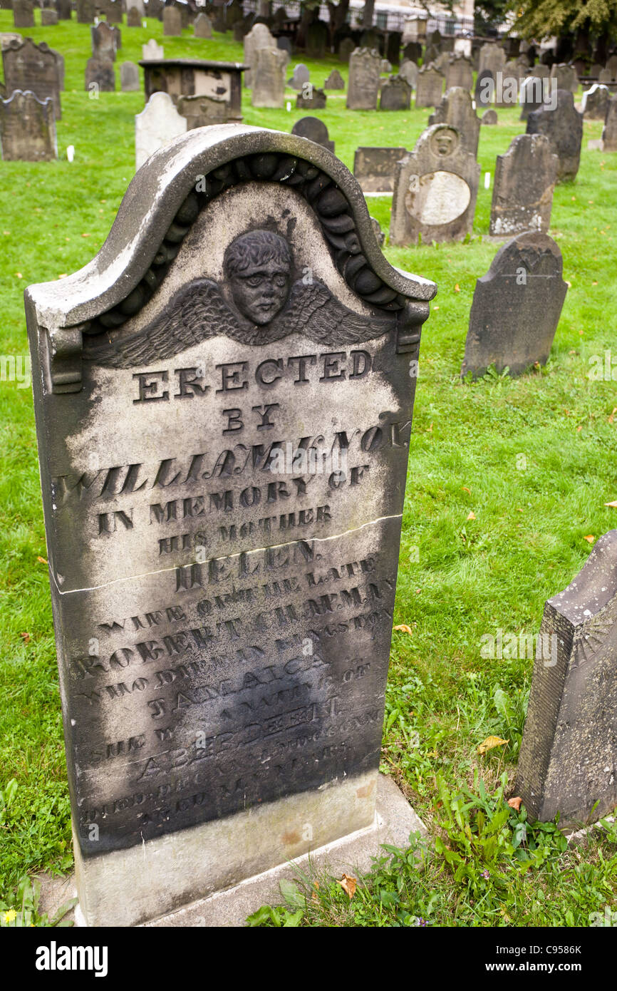 19th Century Gravestone. An example of a repaired gravestone in the old Halifax Burying Ground. - Stock Image