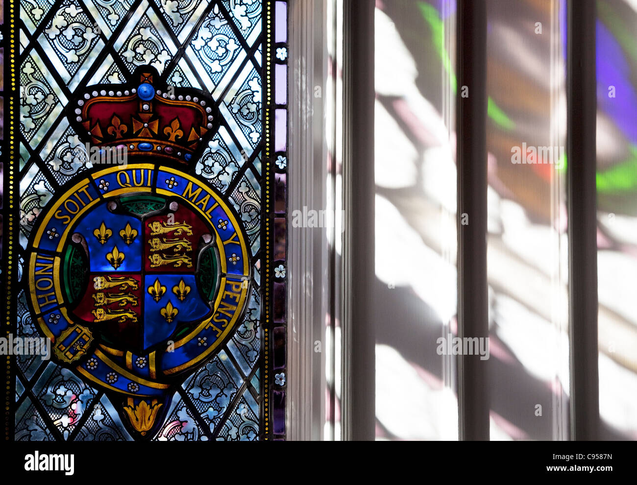 Strawberry Hill House, Twickenham, London - stained glass window - Stock Image