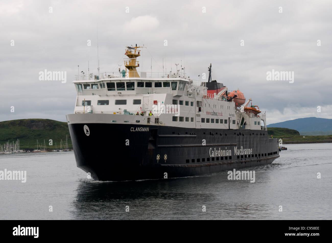 The Caledonian MacBrayne ferry MV Clansman arrives in Oban , Scotland - Stock Image
