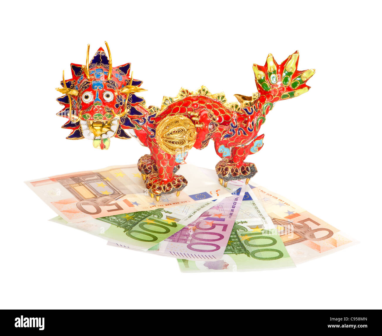 Traditional Chinese dragon on euro banknotes isolated on