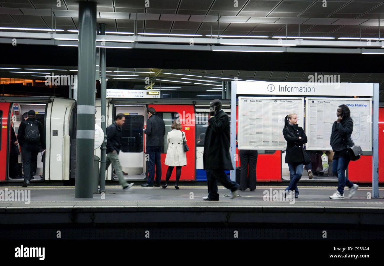 people on the platform at  Stratford London underground station, London UK - Stock Image