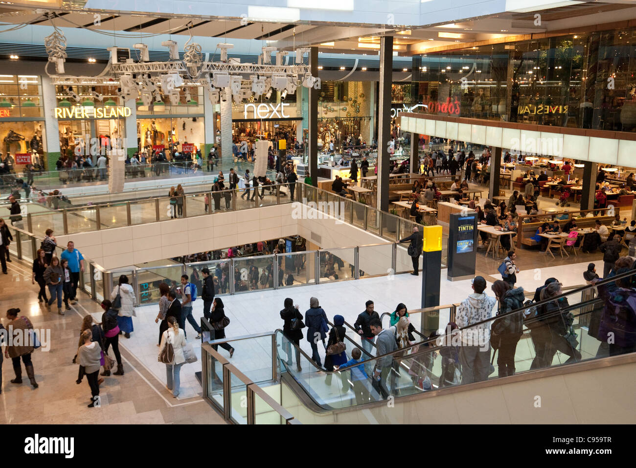 Westfield shopping mall centre, Stratford, London UK - Stock Image