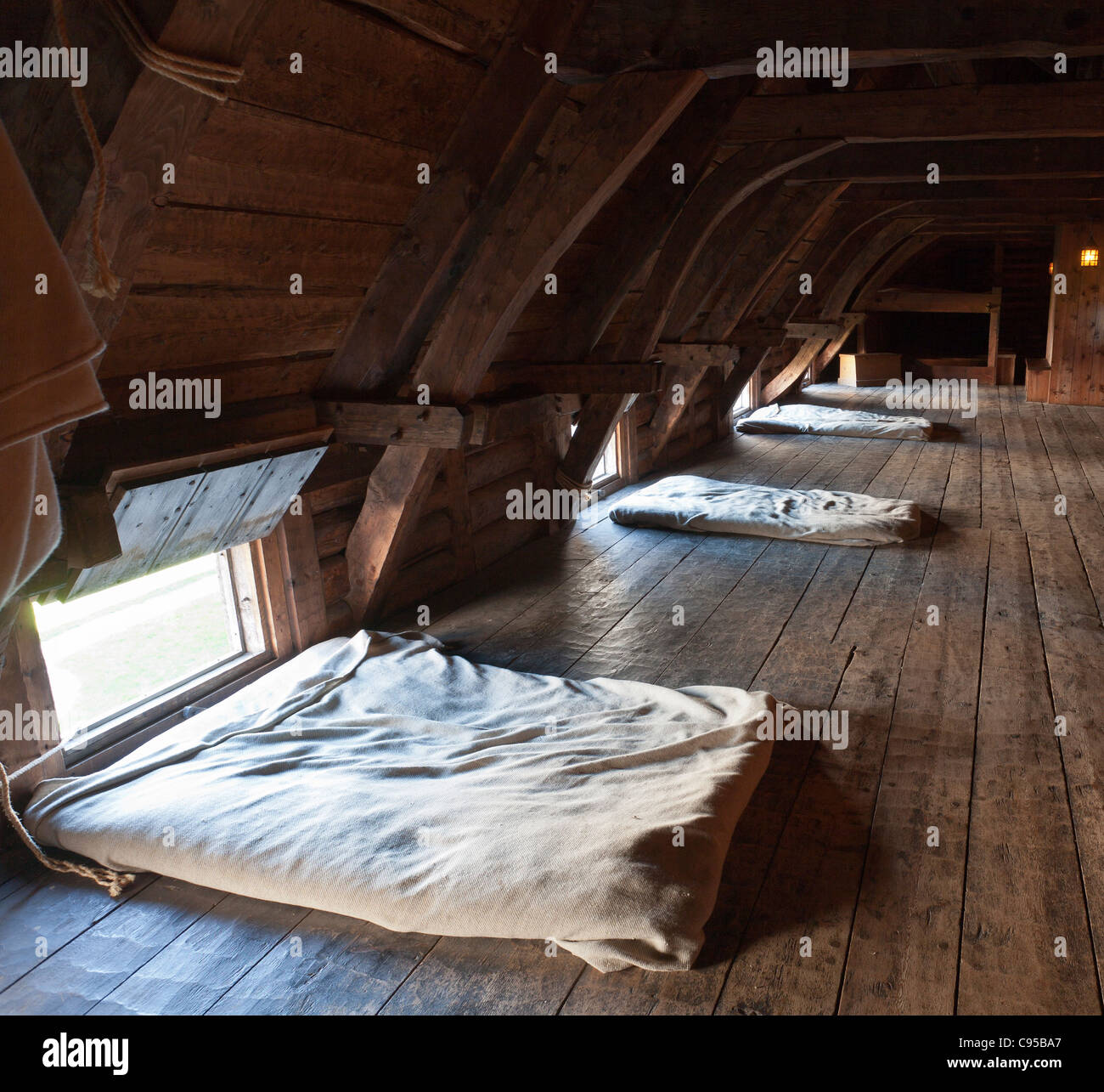 Loft Bedroom at the Port Royal Habitation. The reconstructed Port Royal Habitation built in the early 1600s - Stock Image