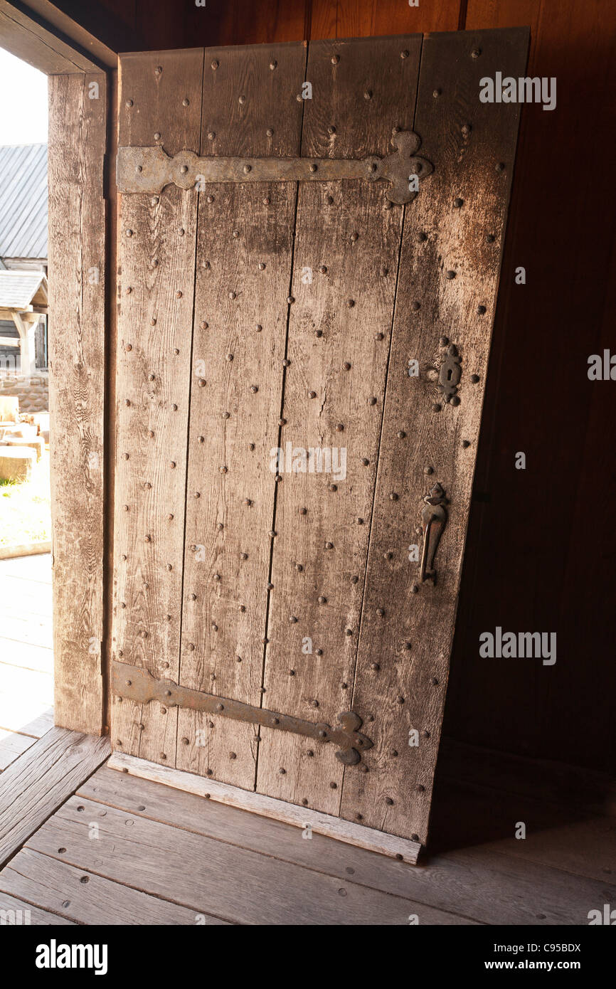 Fortified Door at Port Royal. The reconstructed Port Royal Habitation built in the early 1600s - Stock Image