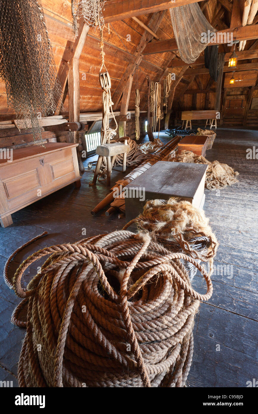Rope Making and Sail Loft at Port Royal Habitation. The reconstructed Port Royal Habitation built in the early 1600s - Stock Image
