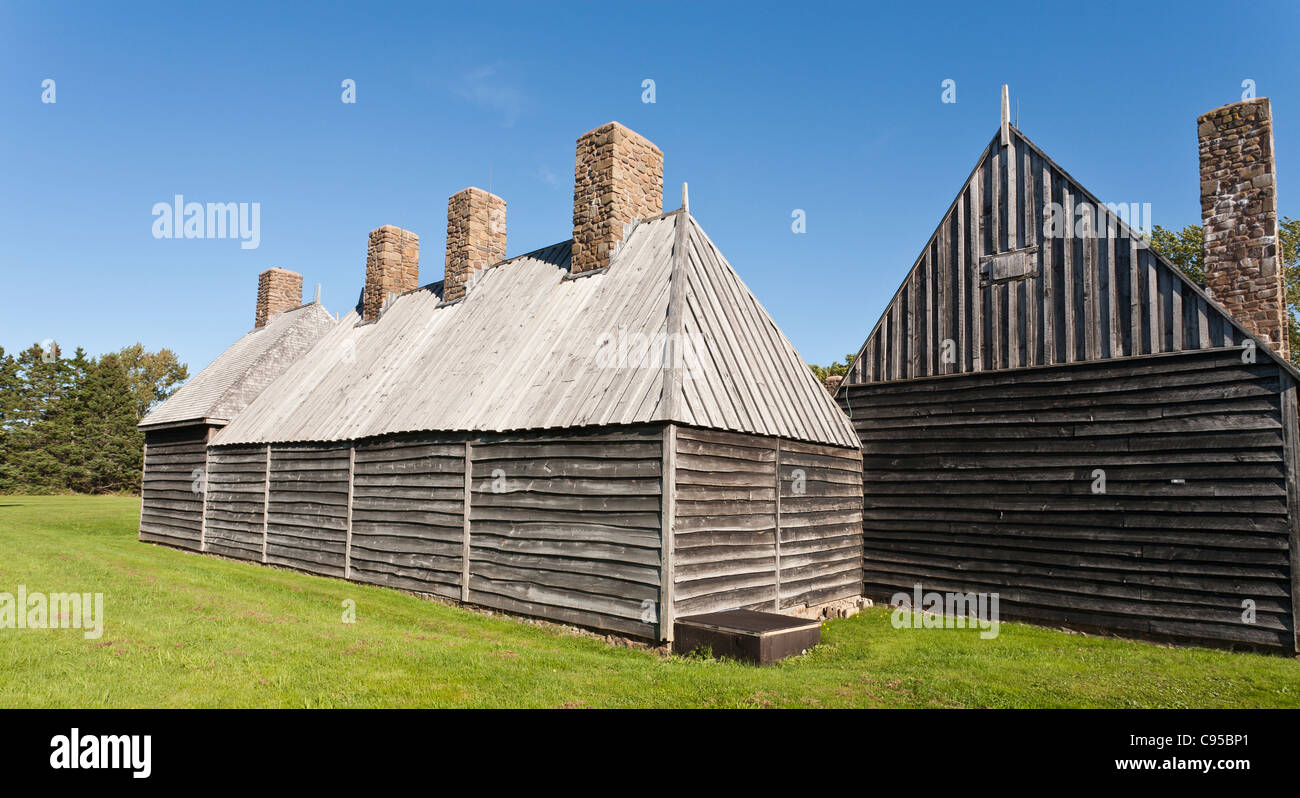Rear view of the Port Royal Habitation. The reconstructed Port Royal Habitation built in the early 1600s Stock Photo