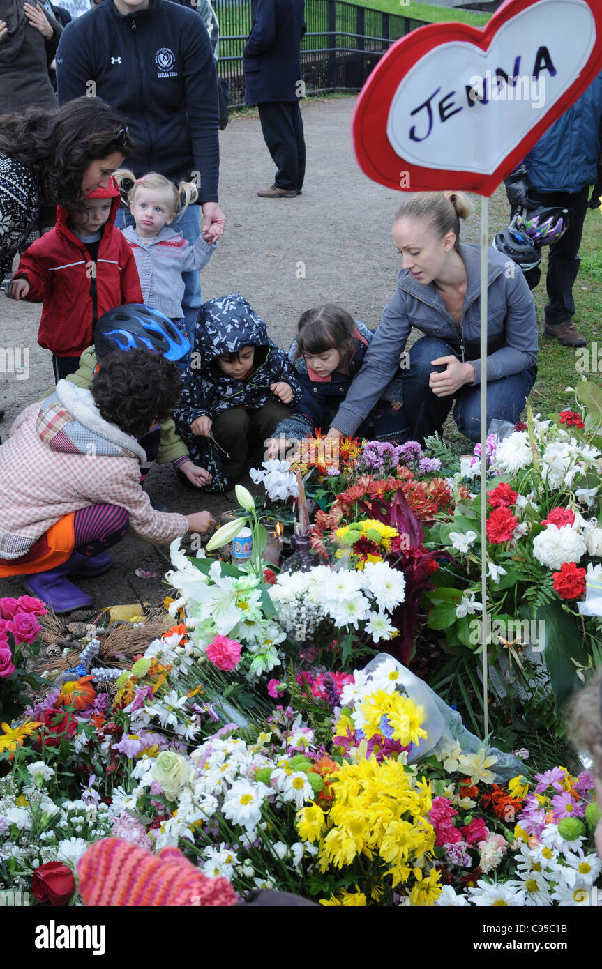 Monday, November 14, 2011, Toronto cyclists, friends, family and neighbours gather for a memorial this morning at - Stock Image