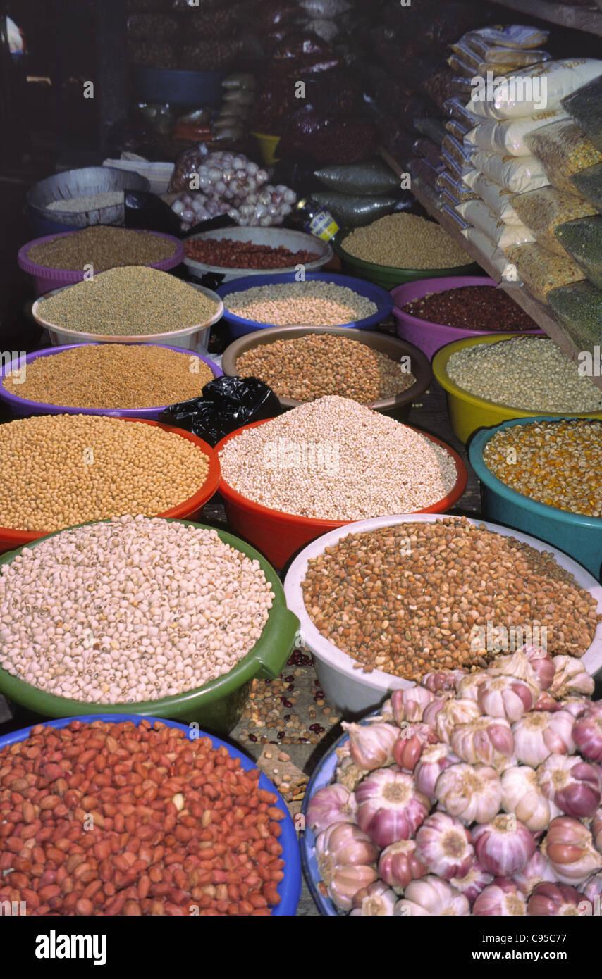 Pulses for Sale,Lagos Market, Nigeria. - Stock Image