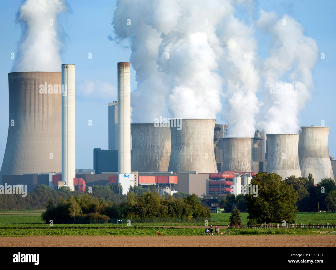 View of Niederaussem coal fired power station in Bergheim district of Germany - Stock Image