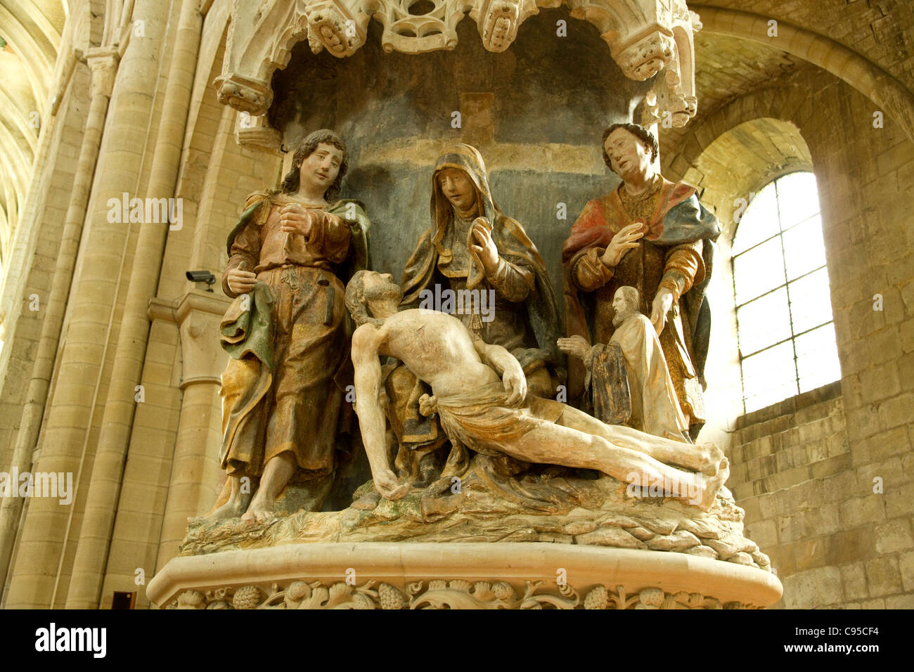 A scene of the pieta in the Cathedral of St Peter in the town of Beauvais France Stock Photo
