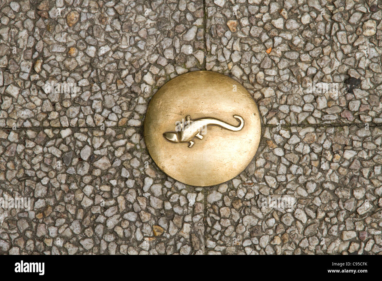 Brass plate decorated with a lizard in the town of Beauvais France - Stock Image