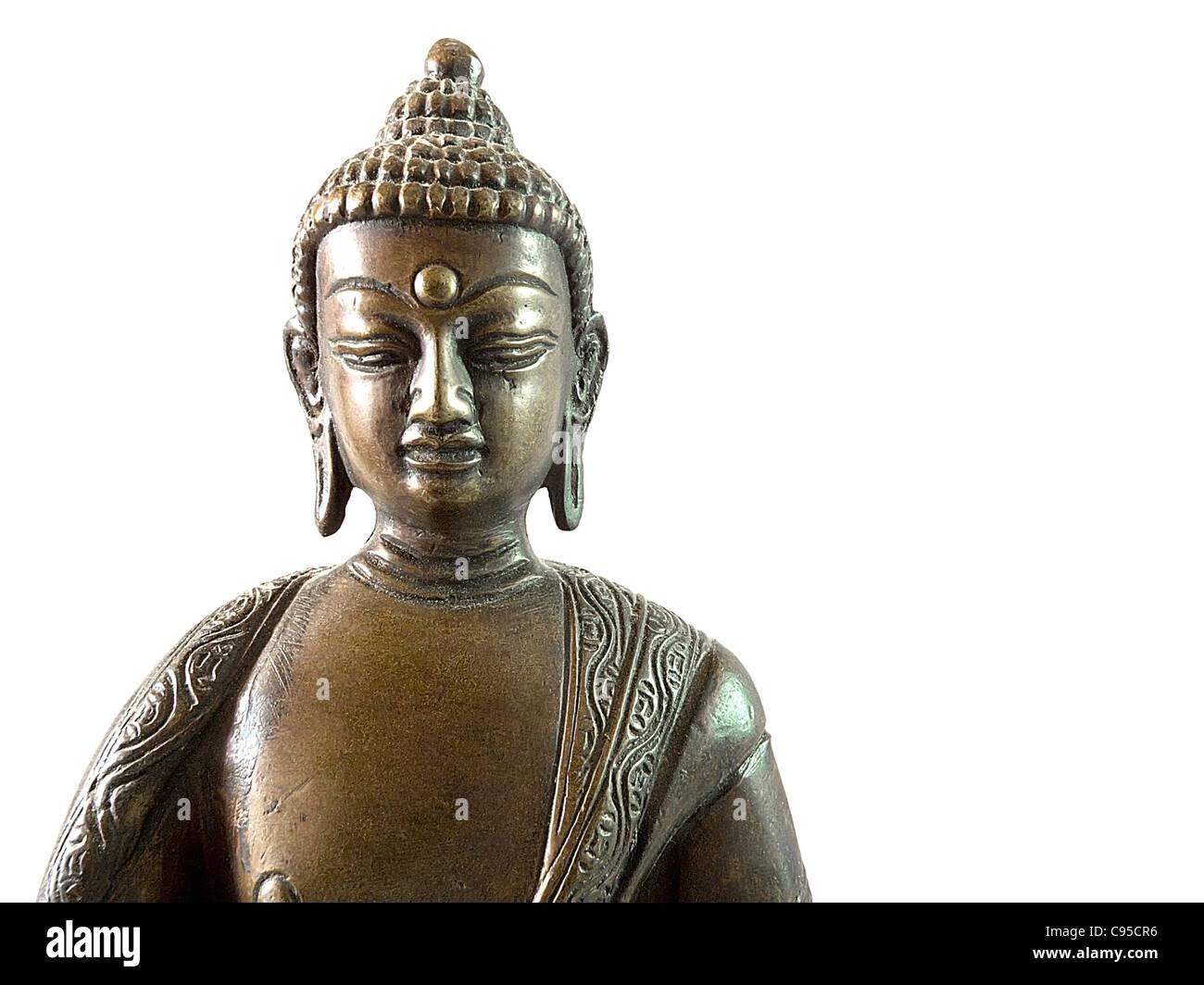 Nepalese hand-made antique statue of Buddha Amithaba. - Stock Image