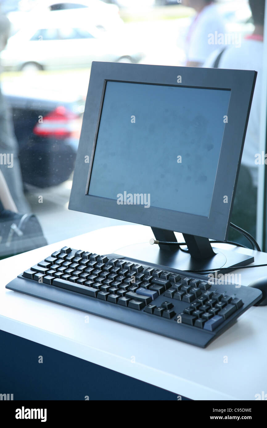 a computer at retail store - Stock Image