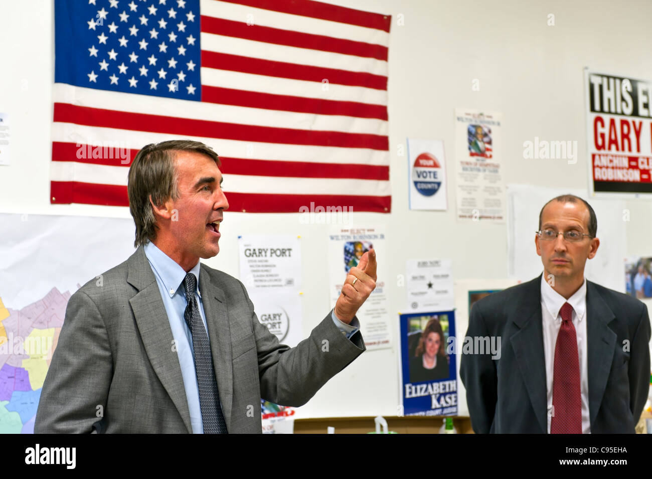 Election Night, re-elected Nassau County Legislator Joseph Scannell, at left, and Gary Port, Democrats, 2011-11 - Stock Image