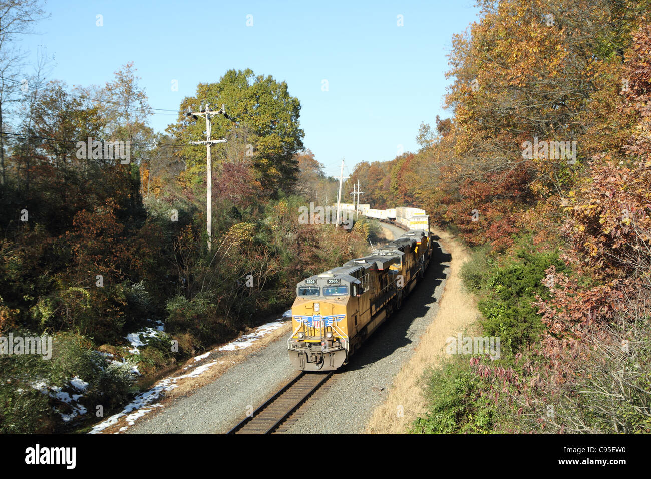 Norfolk Southern intermodal train 212 is shown eastbound at Jutland,NJ behind Union Pacific General Electric diesel - Stock Image