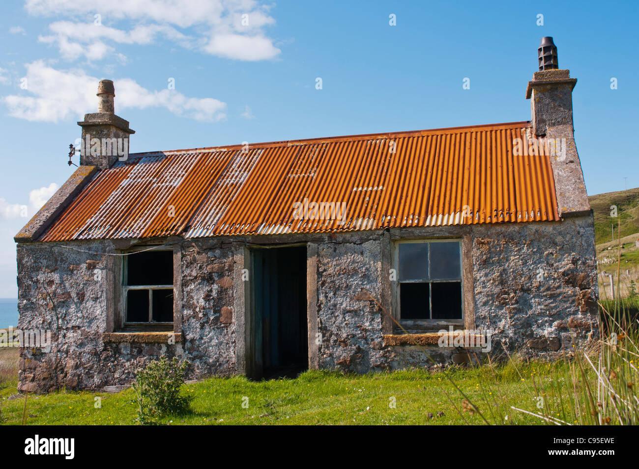 Building, Croft House, Corrugated iron roof, Abandoned, - Stock Image