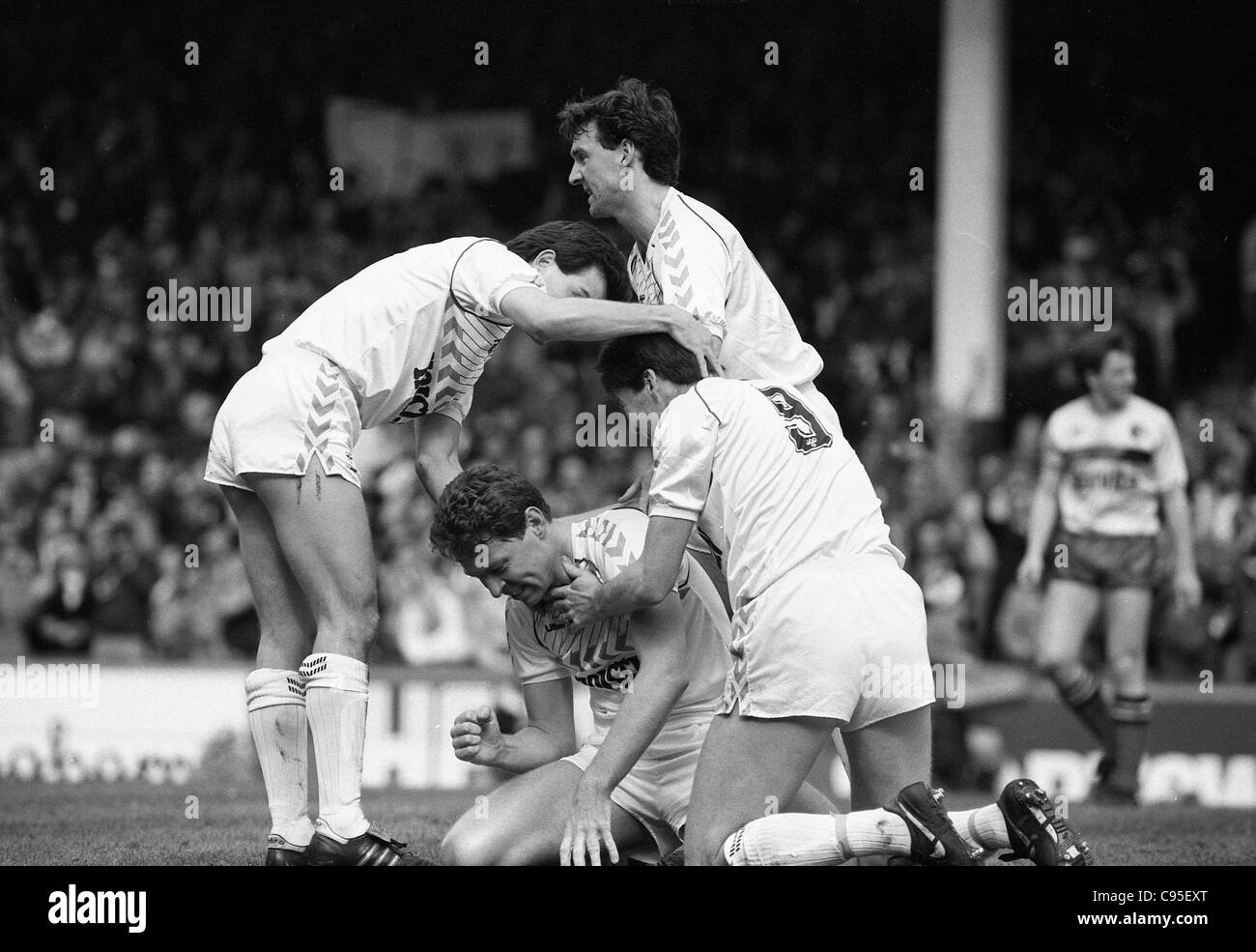 Tottenham Hotspur v Watford 11/4/87 Clive Allen celebrates his goal with Steve Hodge, Chris Waddle and Paul Allen. - Stock Image
