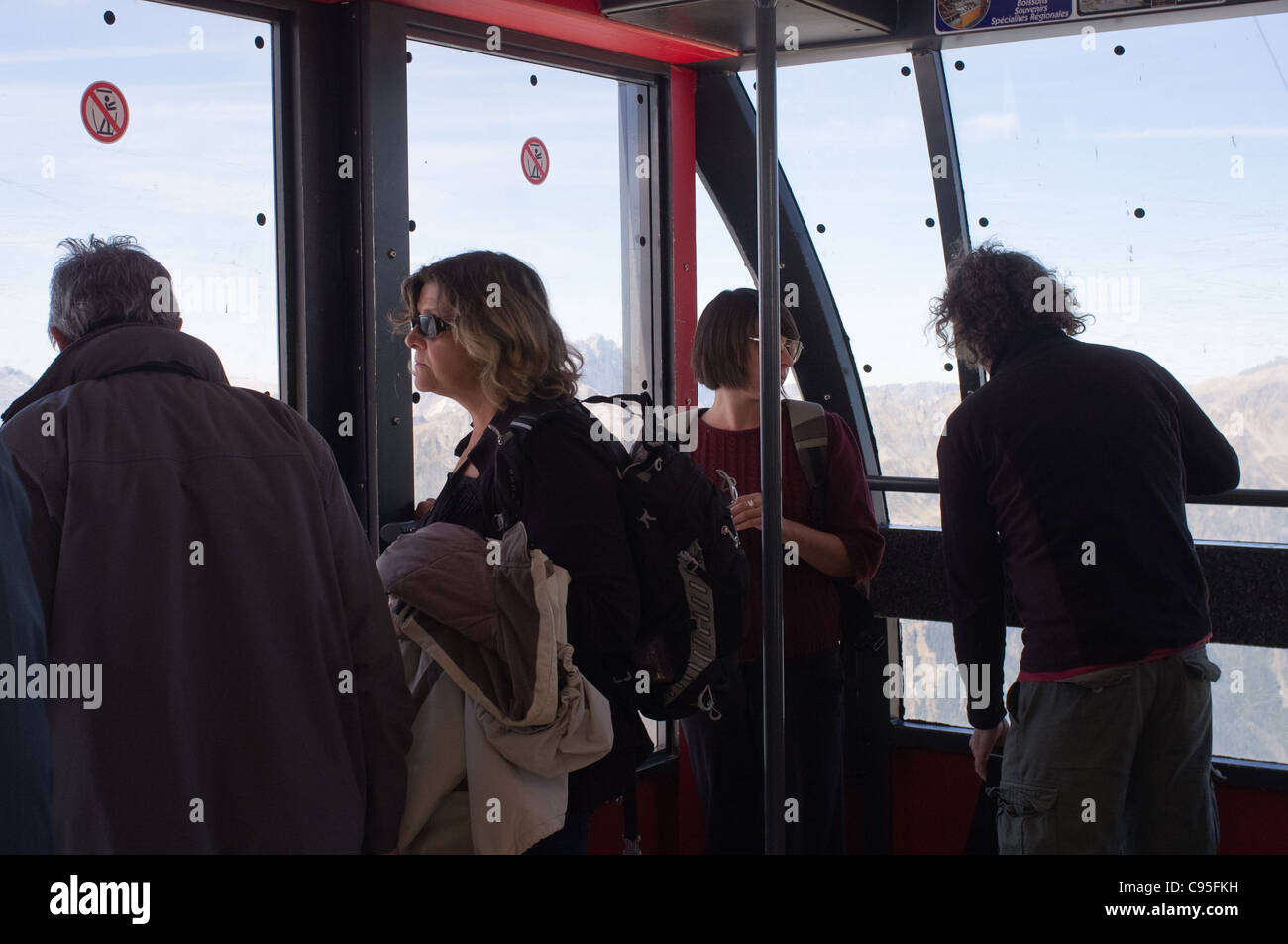 Aiguille du Midi cable car to 3,842 meters. Chamonix, France. 21/09/2011. - Stock Image