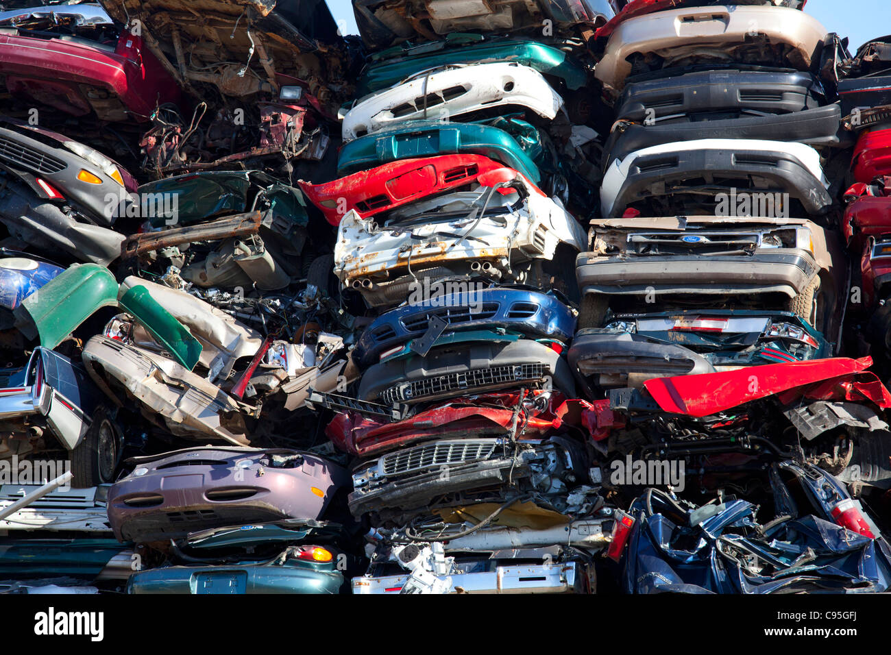 Detroit, Michigan - Junk cars crushed and ready for recycling at a scrap yard. - Stock Image