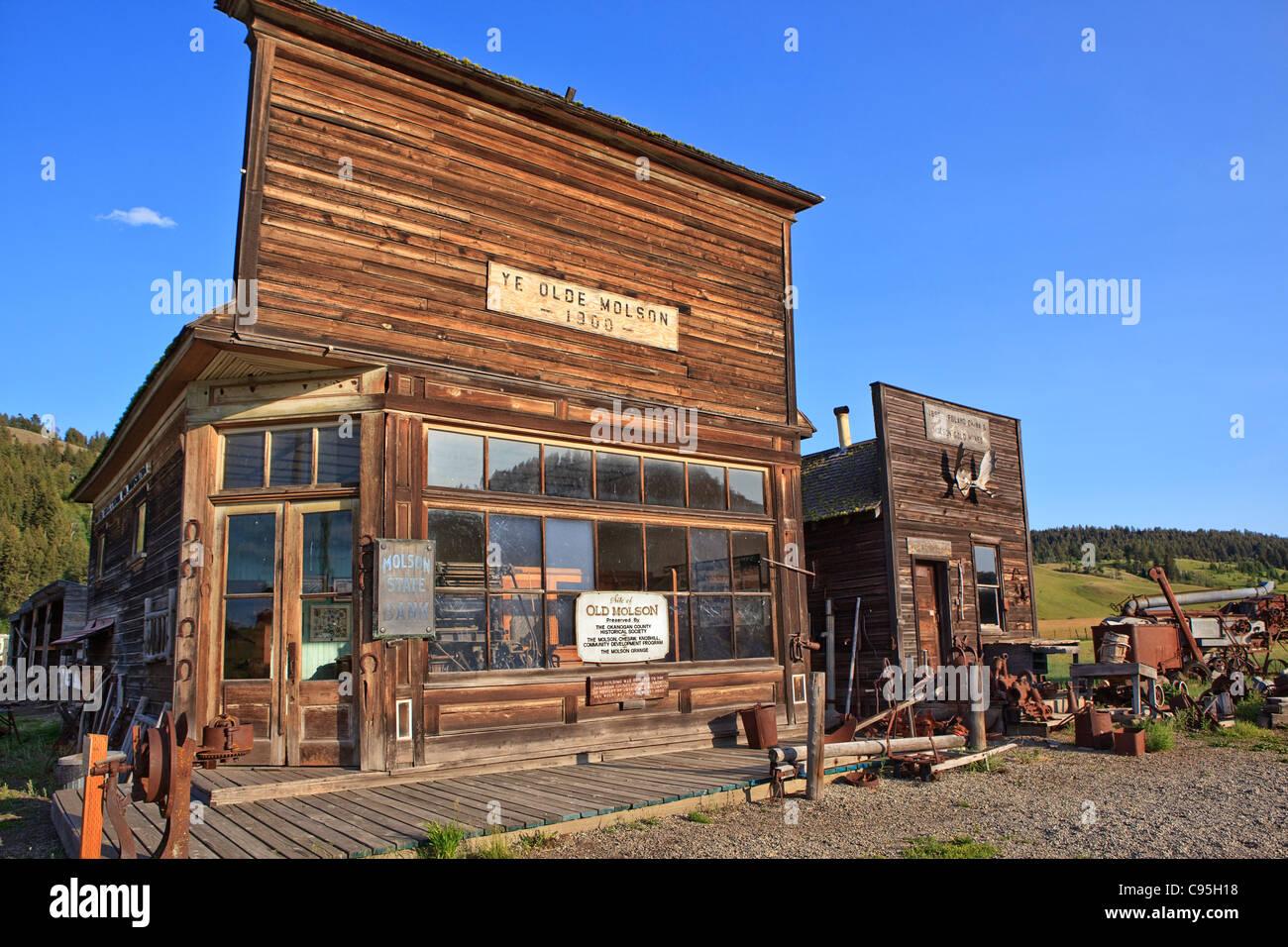Image of the old Molson Bank building in Molson, Washington. - Stock Image