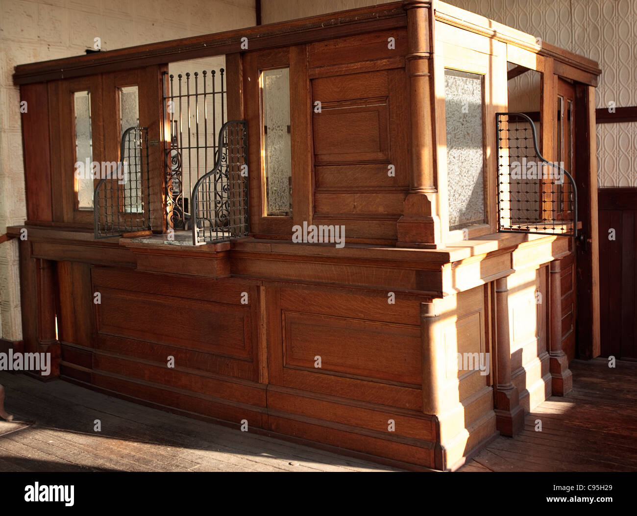 Image of the interior of the bank in Molson, Washington. - Stock Image